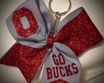 CHEER Bow Keychain ANY Text/Color Cheer GIFT Mini Bow Keychain