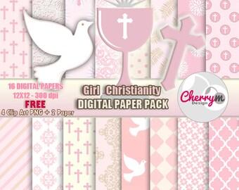 Girl First Communion, Baptism Digital Papers, Free Clip Art, Digital Scrapbooking, Christening, Holy Cross Baptismal, scrapbook papers