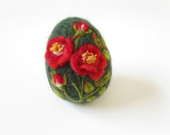 Felted Easter Egg,Easter Egg,Needle felted egg,Spring Ornament,Miniature Original Art,Egg with floral ornament