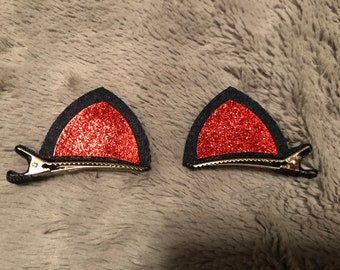 Black and Red Cat Ear Barrettes