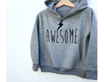 Kids Awesome Hoodie, Super Hero Baby, Baby Hoodie, Toddler Hoody, Baby Gift, Awesome Kid Baby Clothes, Awesome Baby Kids Jumper, Grey Hoodie