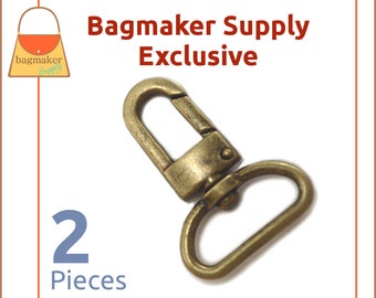 "1 Inch Swivel Snap Hook, Antique Brass / Bronze Finish, 2 Pack, Handbag Bag Making Hardware, Purse Supplies, 1"", Lobster Claw, SNP-AA099"