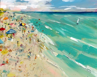 Original Beach Painting, Ocean Art, Landscape painting, Florida beach, contemporary art, Fine Art, Square Art, Modern Art, wrapped canvas