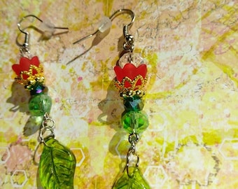 Red Lucite flower earrings with Swarovski crystals