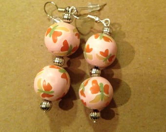 Pink clay beads ear rings