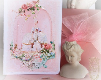 """Marie Antoinettes Spring Confiserie 5 x 7"""" Folding Cards with Pink Shimmer Metallic Envelopes Set of 6"""