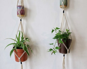 Two tiered plant hanger, Cream and black macrame hanger on brass ring