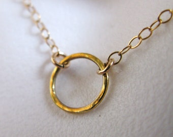 tiny small hammered smooth circle o karma harmony eternity life pounded necklace chain pendant charm boho vintage