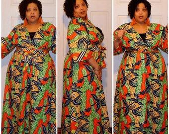 Ankara Maxi Kimono Dress
