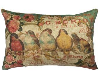 French Birds Throw Pillow, Linen Lumbar Pillow, Cottage