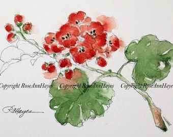 Original Watercolor Painting of Geraniums Red Flowers Floral Garden Gift for Gardener