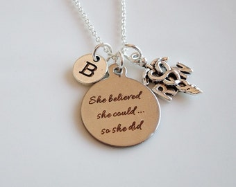 Nurse necklace, She believed she could so she did, RN necklace Graduation gift, Registered nurse jewelry, RN Paramedic, Medical Caduceus