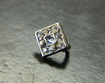 Platinum Rhombus Crystal Rhinestone Covered Pendant Pinch Bail - Pendant Accessories & Findings - 1 Rhinestone Pendant Pinch Bail Per Order