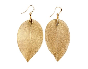 One-of-A-Kind Gold Leaf Earrings