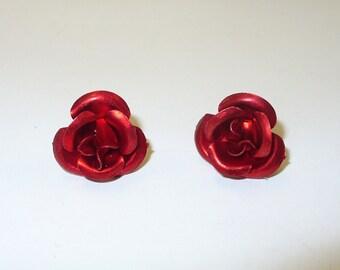 Vintage Red Rose Earrings DEADSTOCK