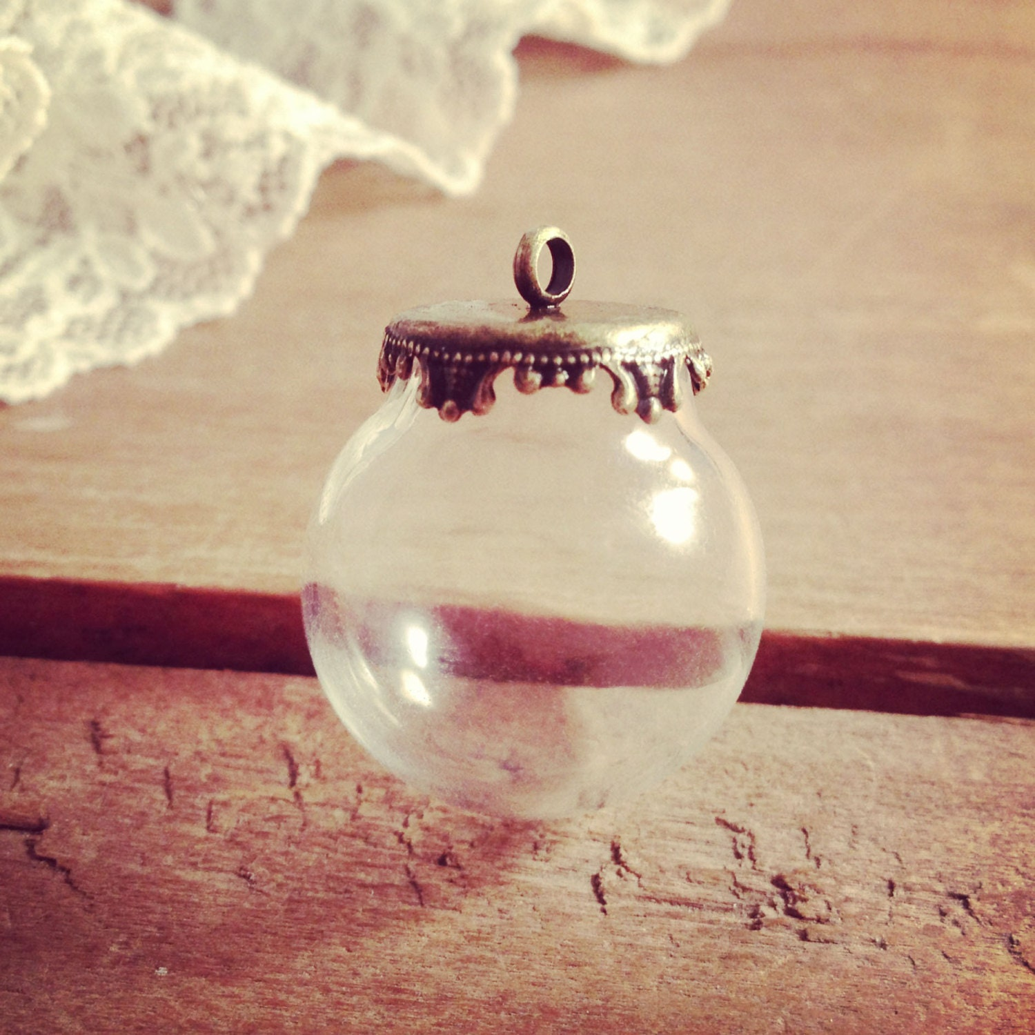 1 small clear globe glass bottle pendant diy antique bronze zoom aloadofball Image collections