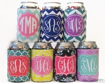monogram can cozie • personalized can cozy • monogrammed can holder • personalised can coolers