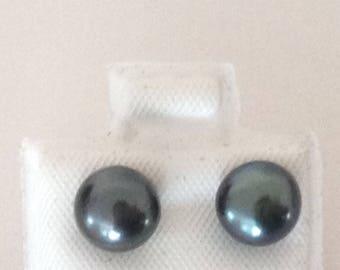 Gunmetal Gray Freshwater Pearl 7mm Pierced Earring 925 Sterling Silver gw16-111
