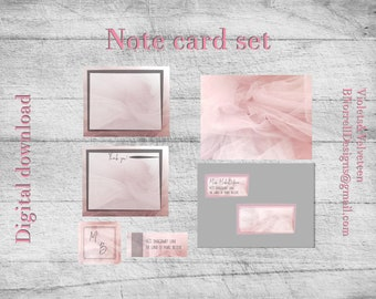 Pink Tulle Note Card set