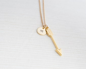Personalised Arrow Necklace, Gold initial necklace , Initial Jewelry, Gold Plated Disc Necklace, Arrow Necklace