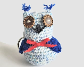 Blue Kawaii Amigurumi Owl Key Ring, Crochet Plush Owl Toy, Kawaii Owl Keychain, Stuffed Owl Bag Charm, Patriotic Owl Decoration, Unique Owl
