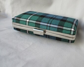Scottish Clan Forbes Tartan Clutch Bag in Ancient Colours, Wedding Clutch, Bridal Clutch, Ready to Ship