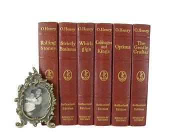Decorative Book Set,  O'Henry Vintage Books, Interior Design, Home Decor, Antique Books, Home Decor, Book Decor, Old Book, Literature