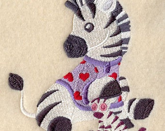 Zebra in PJs with stuffed animal Embroidered Flour Sack Hand/Dish Towel