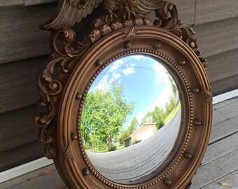 Vintage Syroco Convex Round Federal Eagle Nautical Porthole Wall Mirror