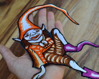Large pixie sew on patch woodland boy fairy faerie sprite badge embroidery bag embellishment enchanted magical fay handmade pointed boots