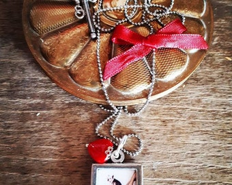 """Pin - up"" - Vintage - Rétro - pinup - handmade pendant - artisan - france - heart"