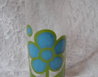 Vintage 60s Mod Floral Colony Glass Martini Pitcher Green Blue
