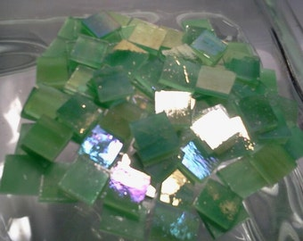 """100 1/4"""" GREEN IRIDIZED & WHITE Mosaic Tiny Tiles Golden Stained Glass Z1"""