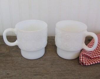 White Milk Glass Mugs, Vintage, Set of 2 Mugs, Coffee Mugs