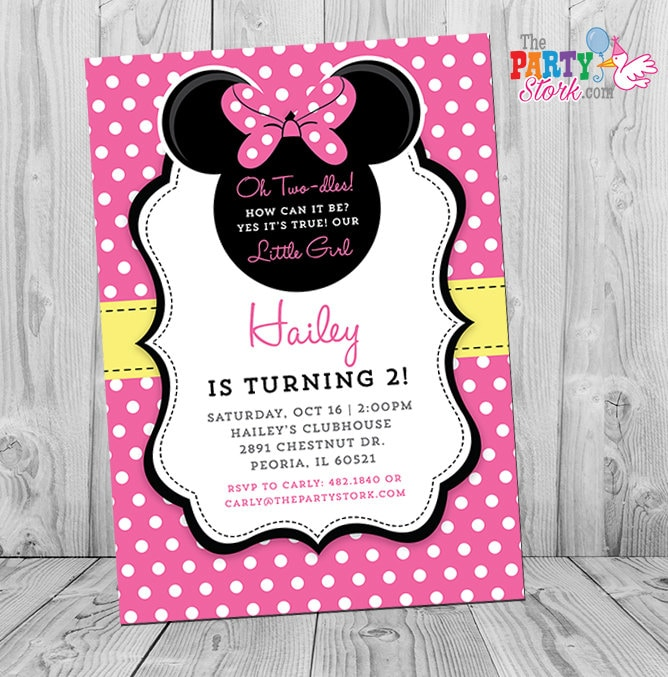Minnie mouse invitation printable hot pink and yellow minnie zoom stopboris Choice Image