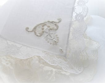 White Lace Hankie Keepsake Vintage Inspired With Vintage Appliques White Memento Bride Hand Sewn One Of A Kind Designed by HandcraftUSA