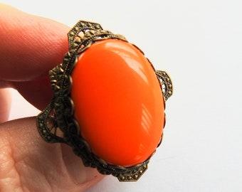 Lucite Brass Adjustable Ring