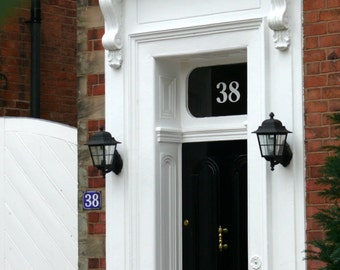 3 x White Transom or Fanlight House Numbers No Sahdow