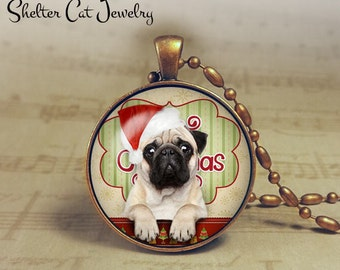 "Christmas Pug in Santa Hat Necklace - 1-1/4"" Circle Pendant or Key Ring - Christmas Puppy - Holiday Present or Gift for Dog Lover"