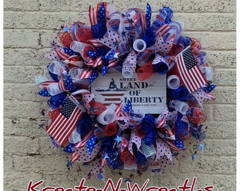 Memorial Day Wreath,American Flag Wreath,4th of July Wreath,Patriotic Mesh Wreath with Sign,Red White and Blue Mesh Wreath,Front Door Wreath