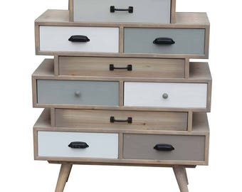 Chest of drawers White taupe and gray Scandi 76X35X102 cm