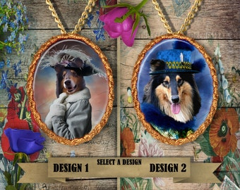 Rough Collie Jewelry. Collie Pendant or Brooch. Collie Necklace. Collie Portrait. Custom Dog Jewelry by Nobility Dogs. Dog Handmade Jewelry