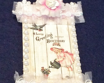 Birthday Gift Tag, Vintage Tag, Embellished Tag, Hang  Tag, Lace Tag, OOAK