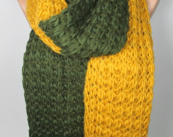 Outdoor Gift Knit Scarf Cozy Winter Scarf Wool Scarf Green Mustard Scarf Thick Warm Scarf Women Accessories Christmas Gift For Her For Women