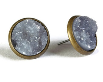 Antique brass and grey textured stud earrings - Faux Druzy earrings - Textured earrings - Post earrings (801)
