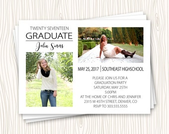 Picture Collage Custom High School or College Graduation Announcement Party Open House Invitation