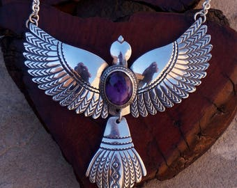 Sterling Silver Sugilite Hand Stamped Flying Bird Necklace ... Made to Order