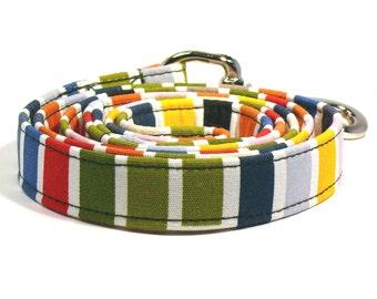 Colorful dog leash - Happy striped pet lead - Colourful dog lead - Rainbow pet leash - Happy colorful striped leash for joyful dogs