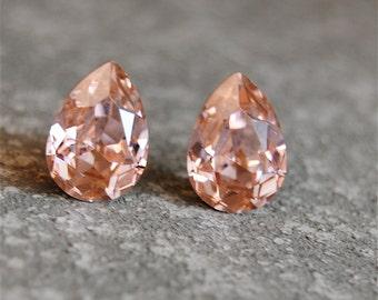 Blush Stud Earrings Blush Bridesmaid Rose Gold Earrings Swarovski Crystal Simple Pear Stud Earrings Clip on Vintage Rose Studs Pink Bride