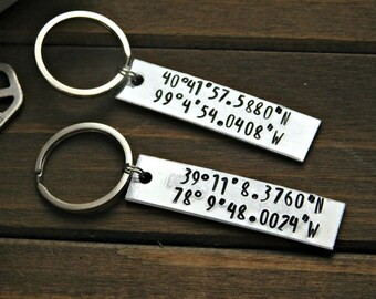 Latitude Longitude Keychain Custom Gift Stamped Silver Long Distance Relationship Anniversary Gift Wedding Love Message Personalized Place
